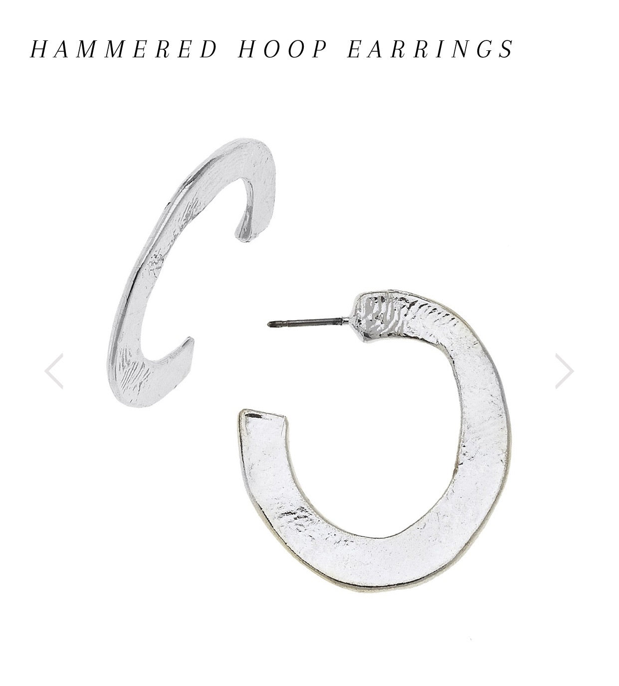 Susan Shaw Sterling Silver Shiny Hand Cast Hammered Hoop Lightweight Earrings