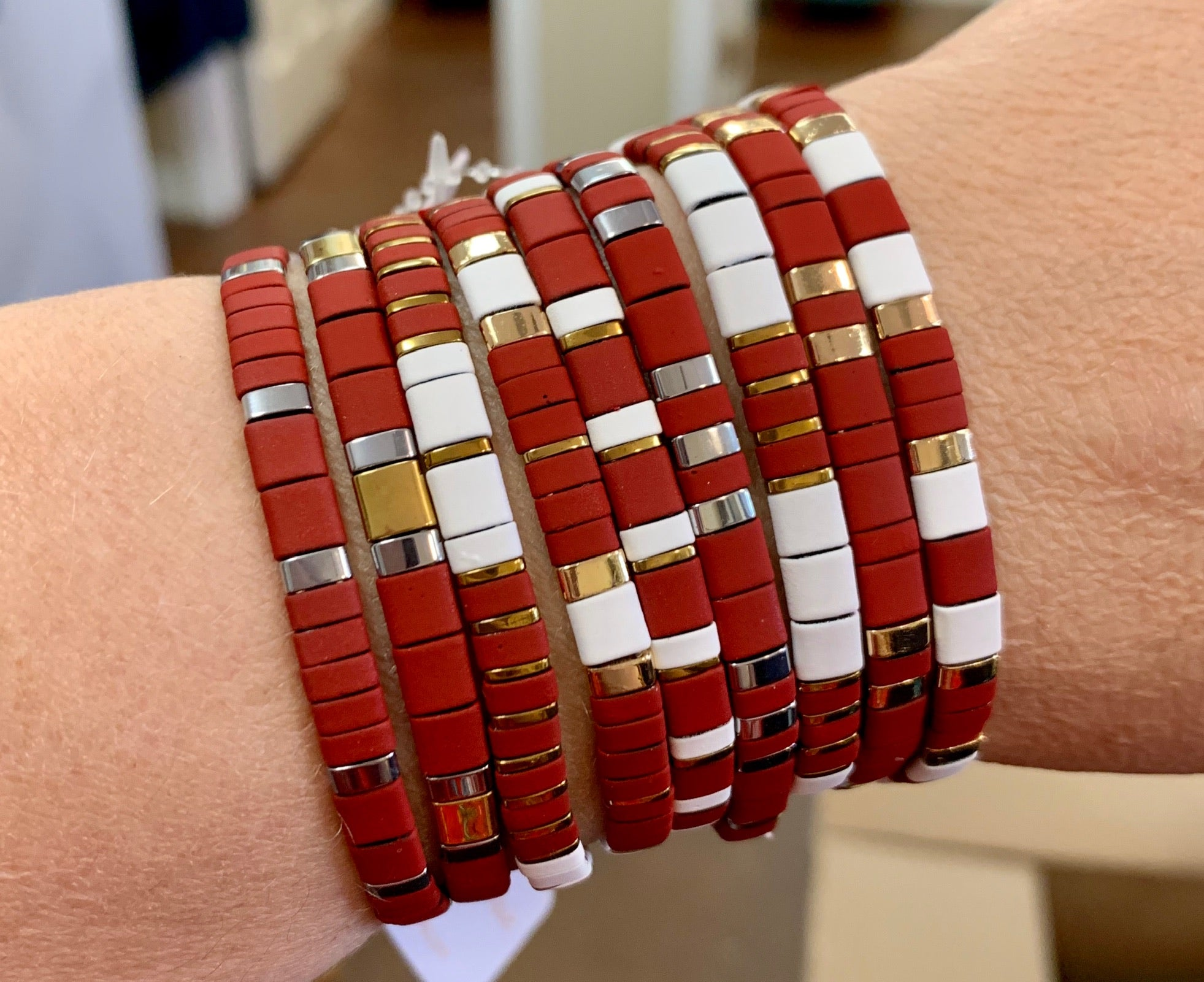 Jane Marie Maroon Collection Stretchy Tile Bracelet