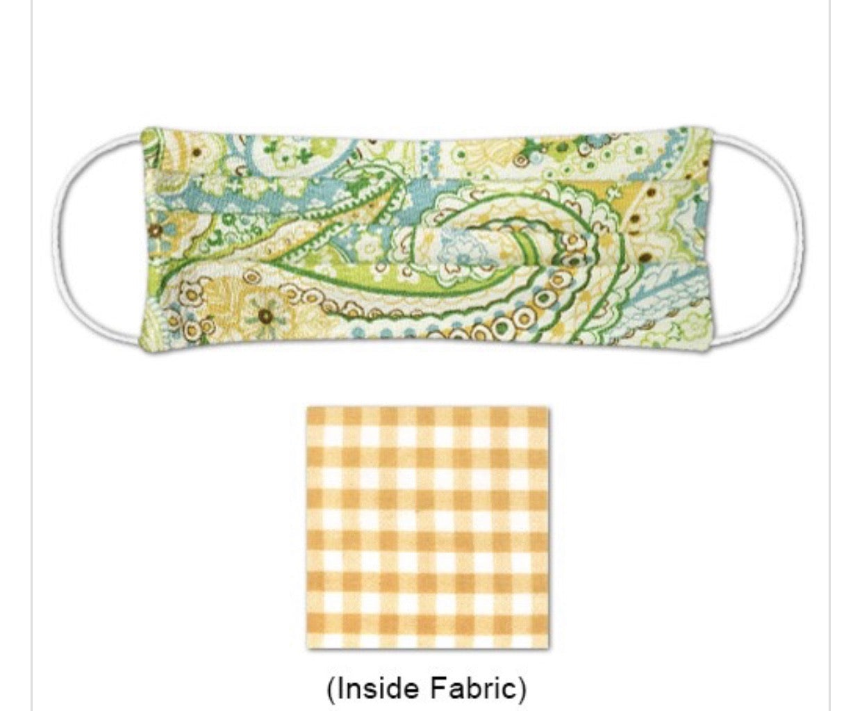 Ladies Yellow & Lime Paisley Floral Print Mask Reversible to Yellow Check Print