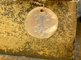 "16"" W Engraved Gold Disc Necklace"