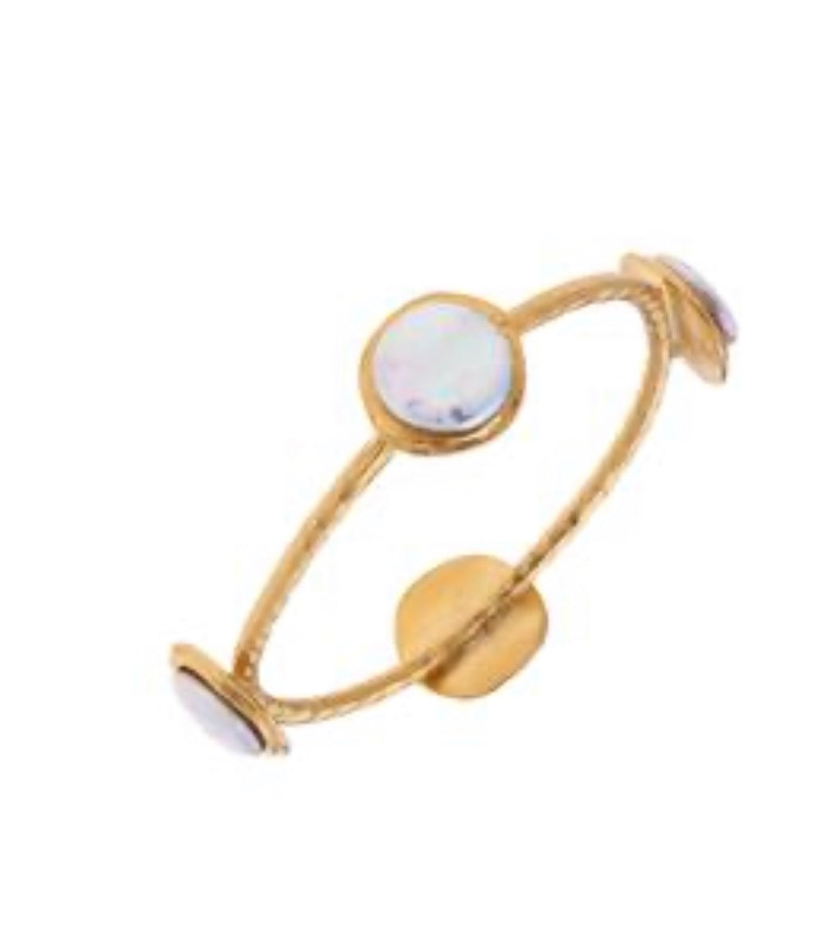 Genuine Freshwater Pearls 24Kt Gold Triple Plated Hand-cast Bangle Handmade by Susan Shaw
