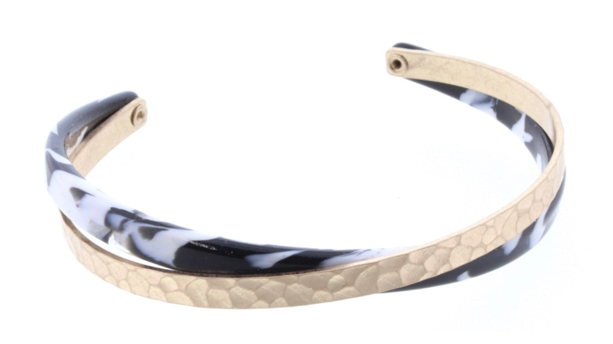 Jane Marie Black & White Resin Overlapping Cuff Bracelet