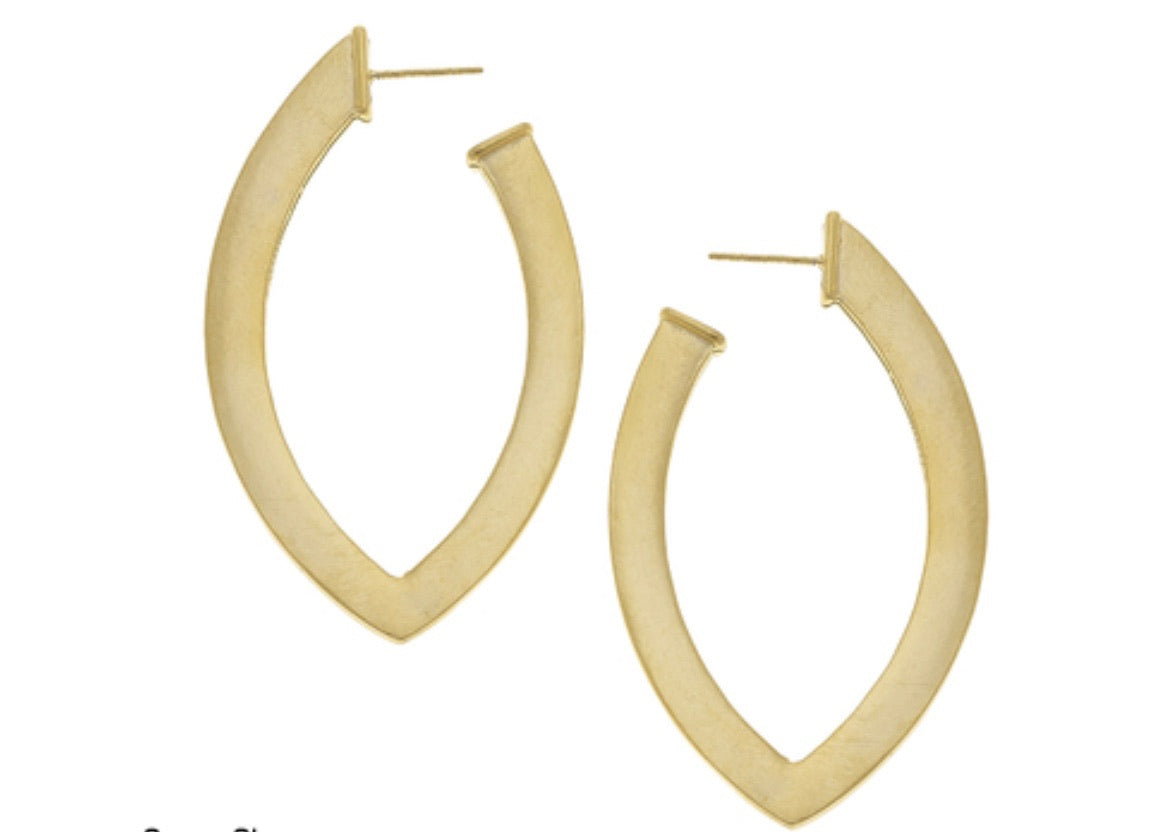 Susan Shaw 24kt Gold Plated Handcast Flat Pointed Lightweight Hoop EarrIngs