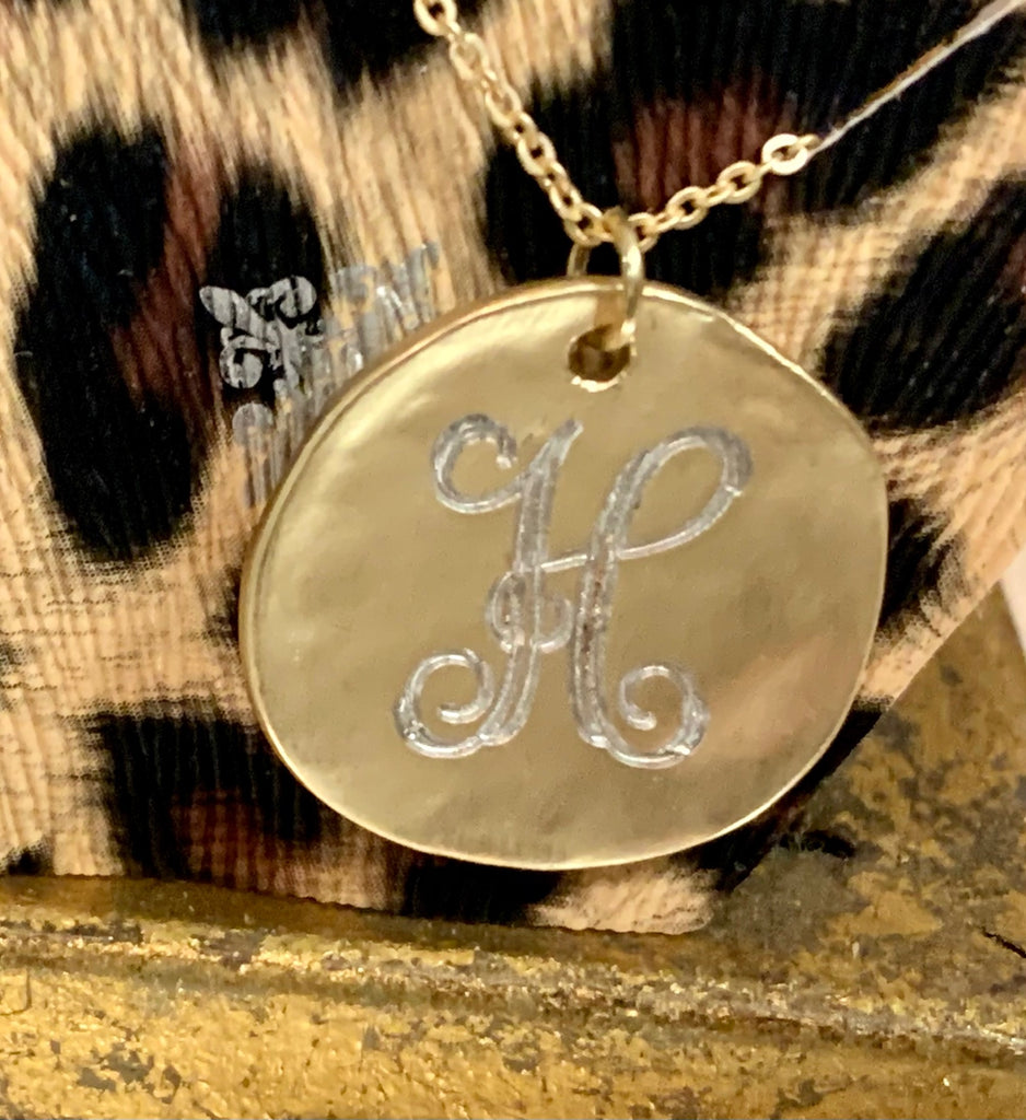 "16"" H Engraved Gold Disc Necklace"