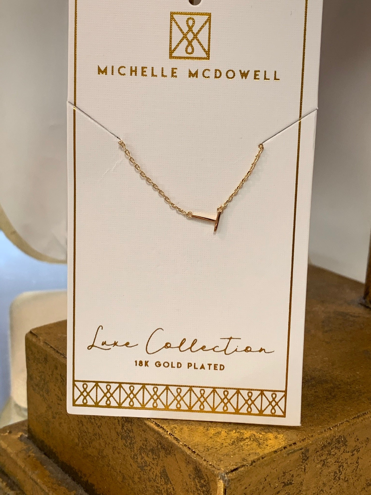 Michelle McDowell 18kt Gold Plated Dainty T Initial Short Necklace