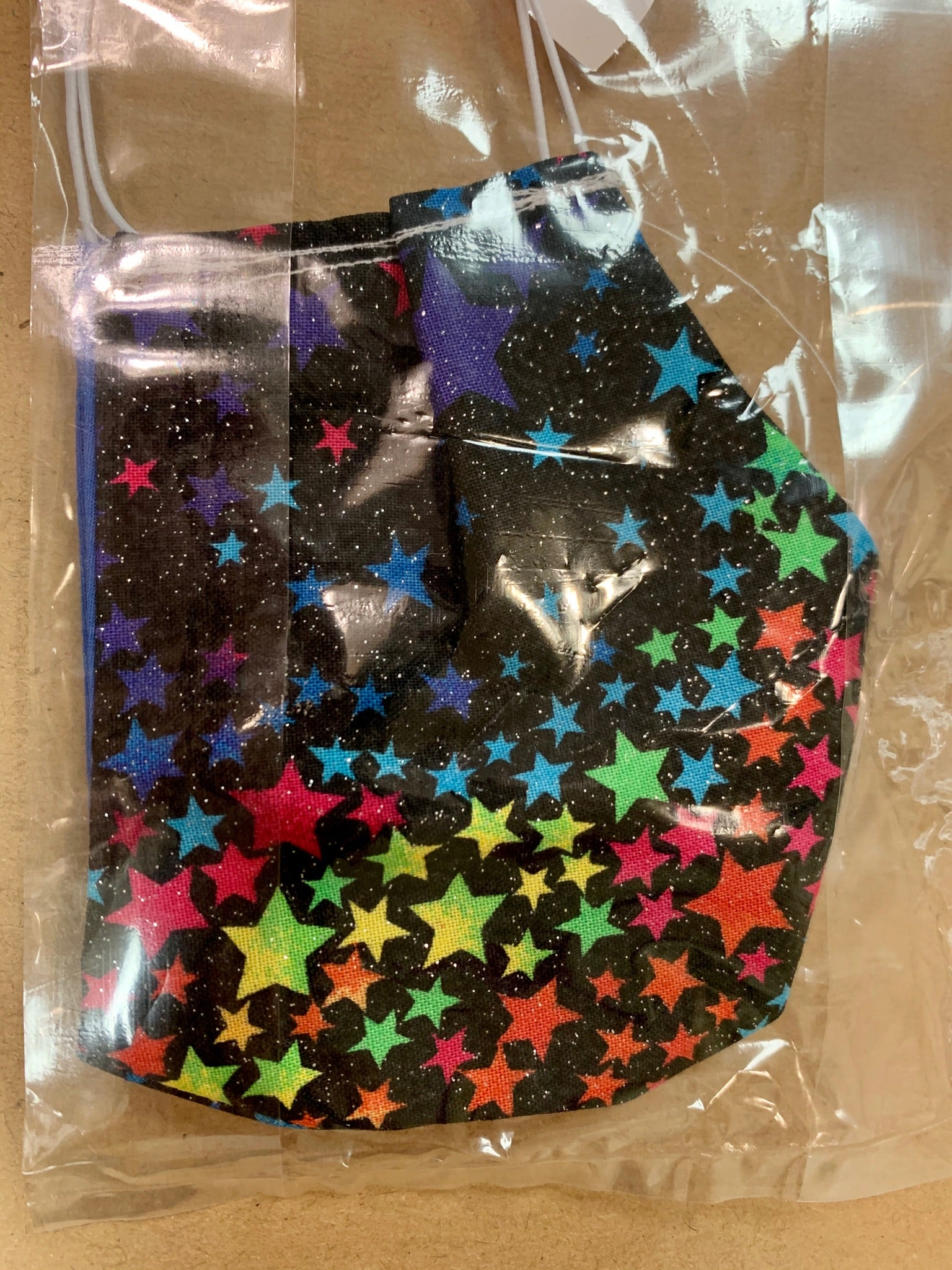 Ladies Multicolor Star Print On One Side Reversible to Royal Blue Mask