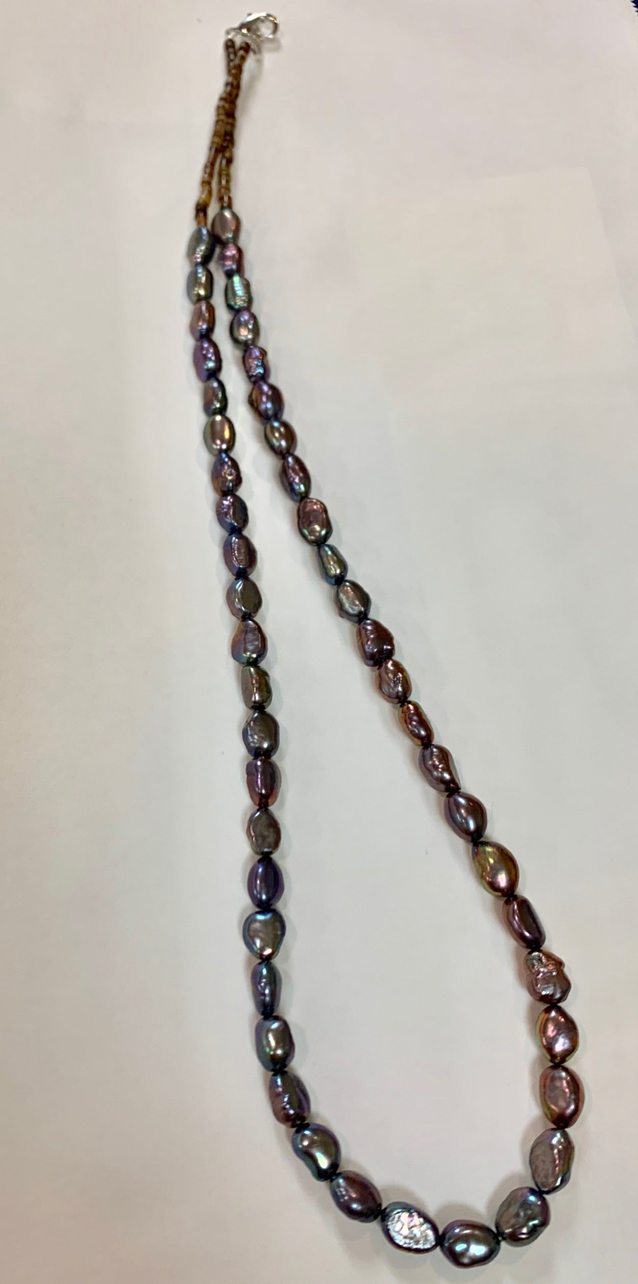 "Peacock Pearl Beaded 21"" Necklace"