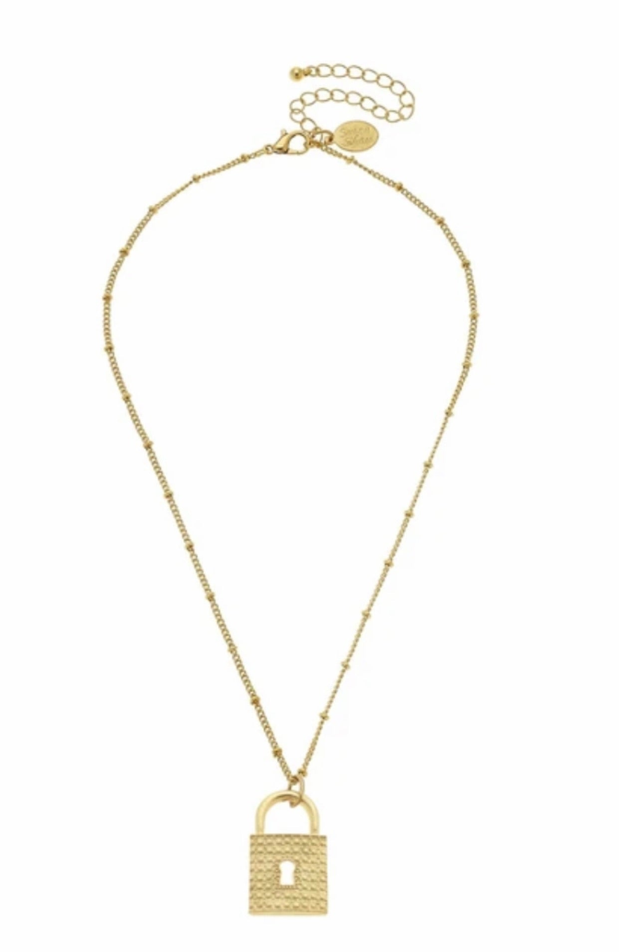 "Susan Shaw Triple Plated 24kt Gold Keepsake Classic Lock 16"" Necklace"
