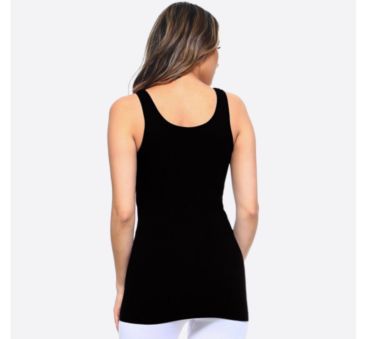 Black Soft Stretchy Shape-wear Long Tank Top