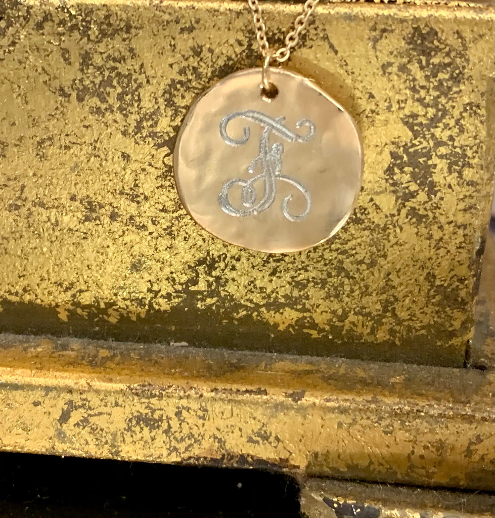 "16"" F Engraved Gold Disc Necklace"