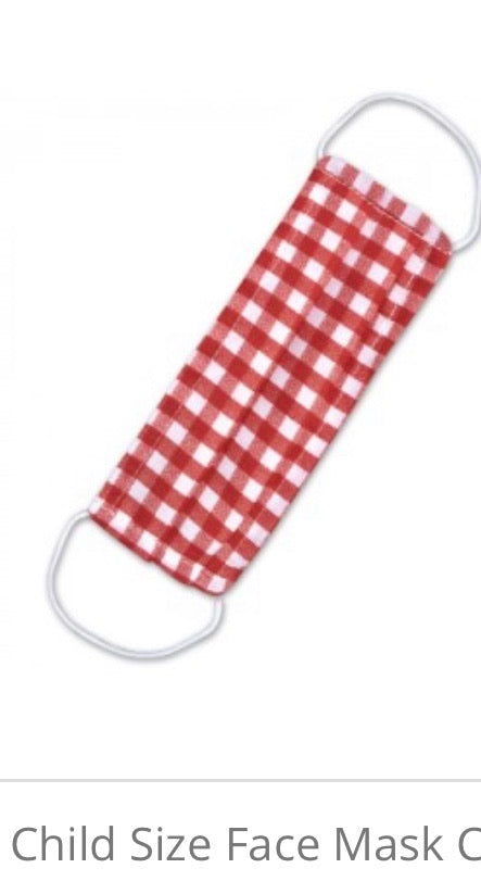Kid's Red Check on One Side & Cream on Other Side Reversible Mask