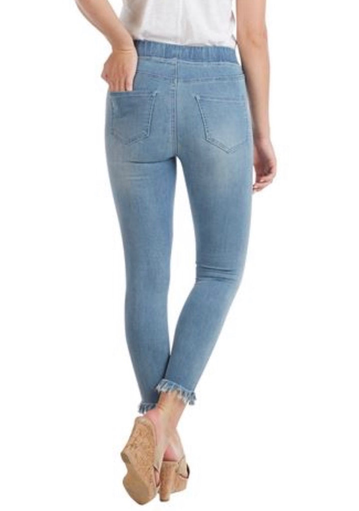 Jenner Light Wash Raw Edge Fringe Elastic Waist Jeans
