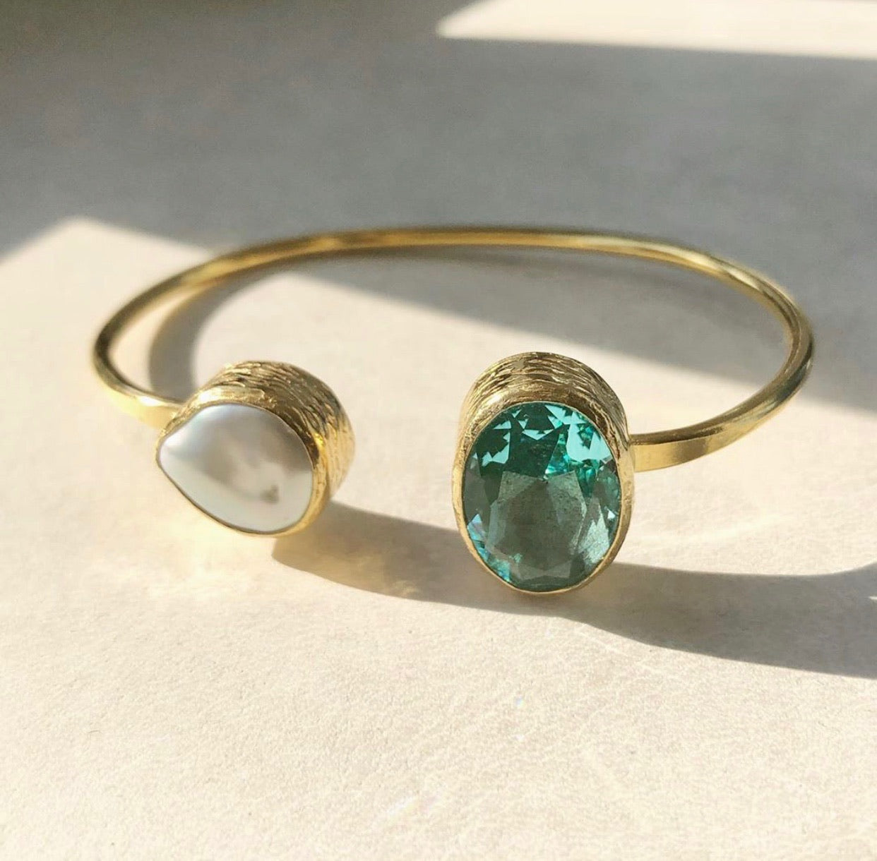 Mother of Pearl & Aquamarine 24kt Gold Plated Handmade Open Bangle