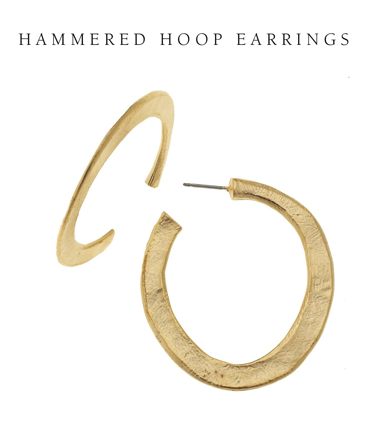 Susan Shaw 24kt Gold Hand Cast Sterling Silver Plating Hammered Hoop Lightweight Earrings