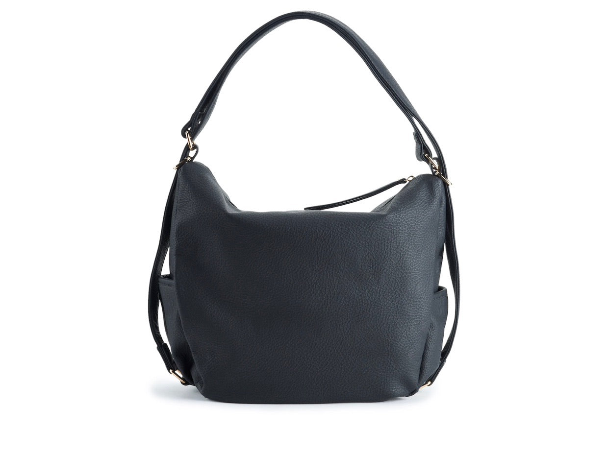 Black Convertible Hobo Backpack Purse