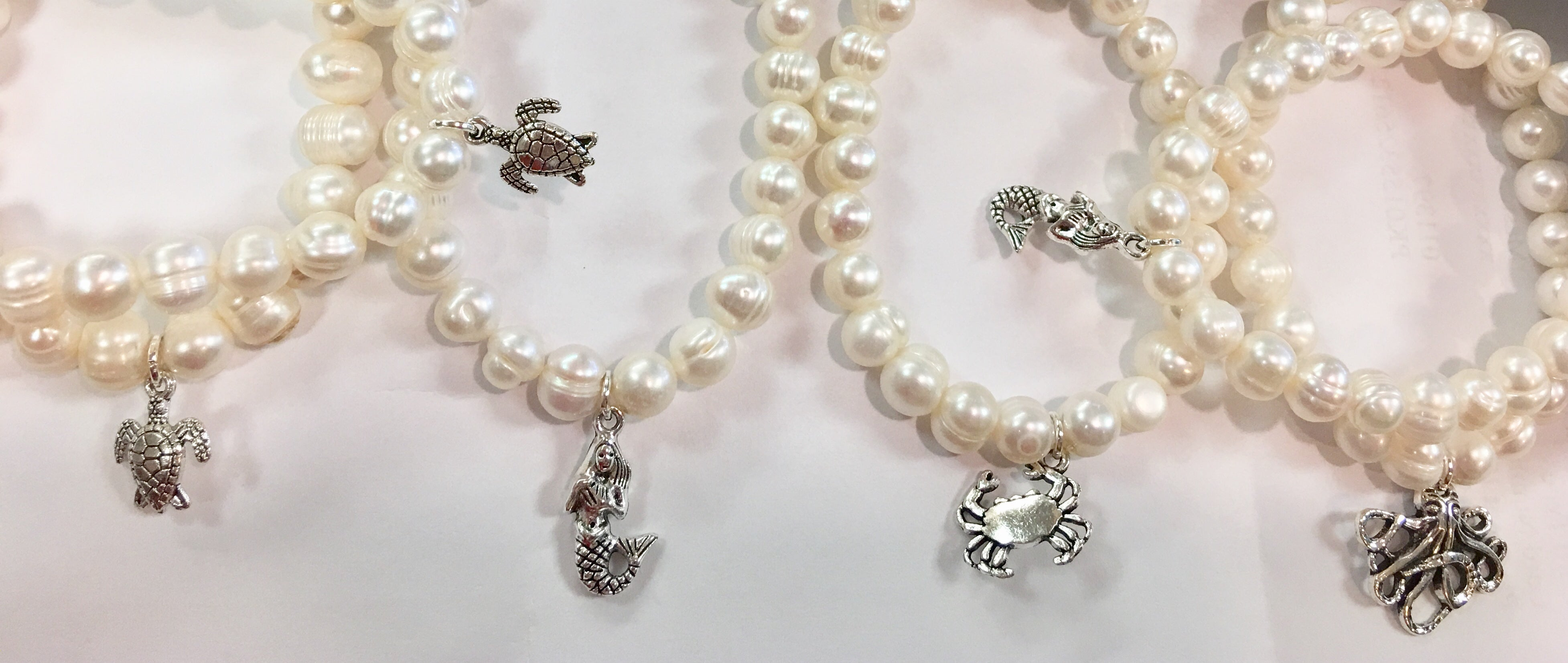 Cultured Freshwater Pearl Silver Charm Bracelet