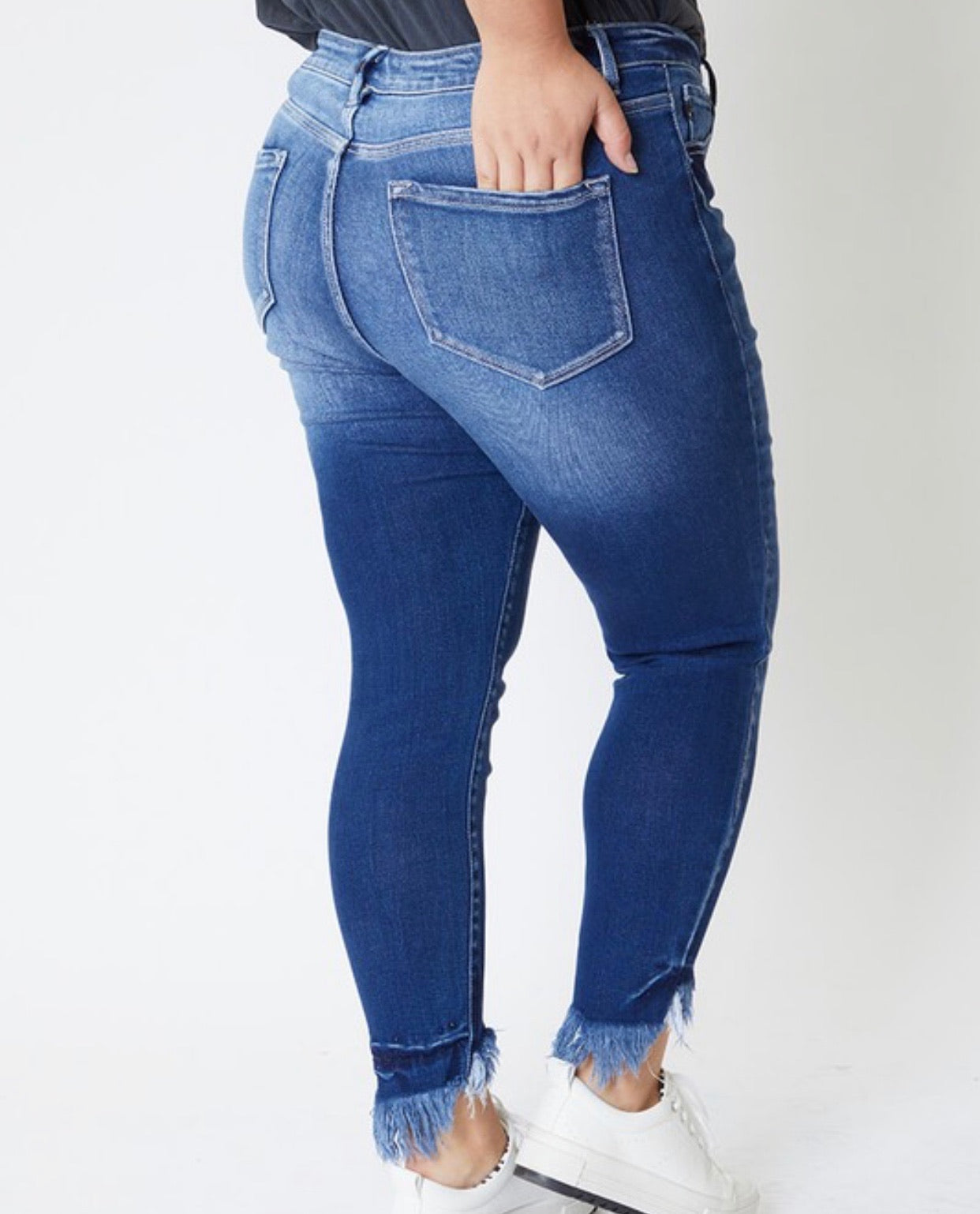 Dark High Rise Frayed Ankle Skinny Plus Size Jeans