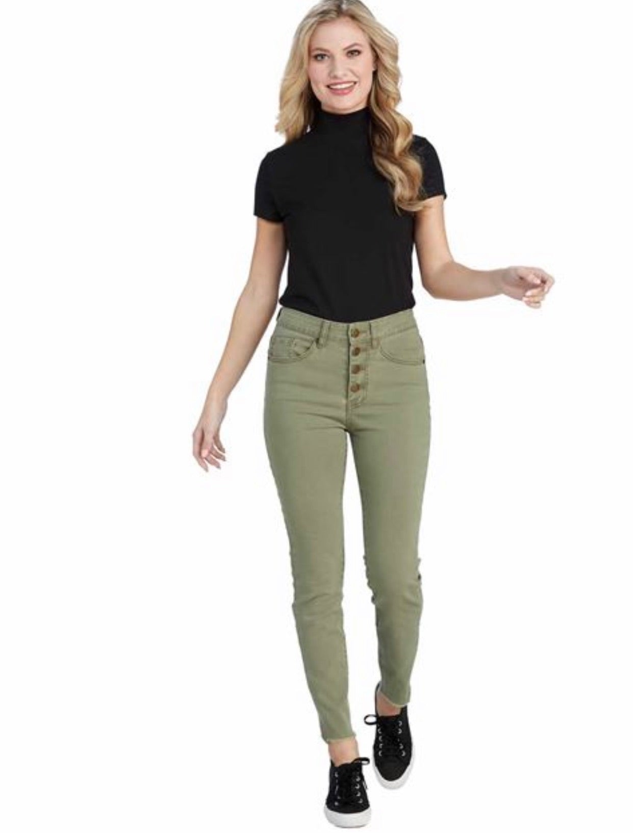 Sage Green Raw Edge Hem Button Fly Jeans