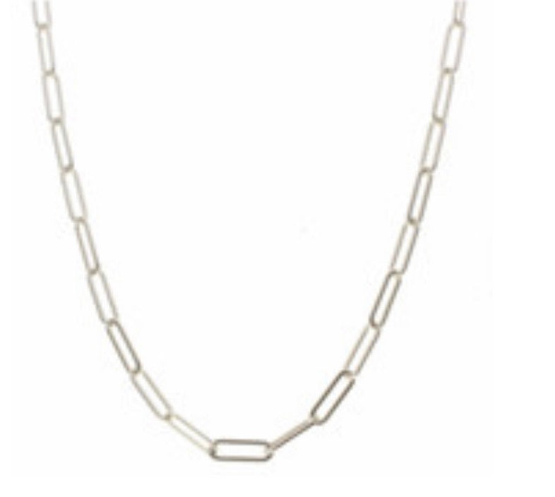 "Jane Marie 18"" Lightweight Larger Silver Chain Link Aka Paperclip Chain Necklace"