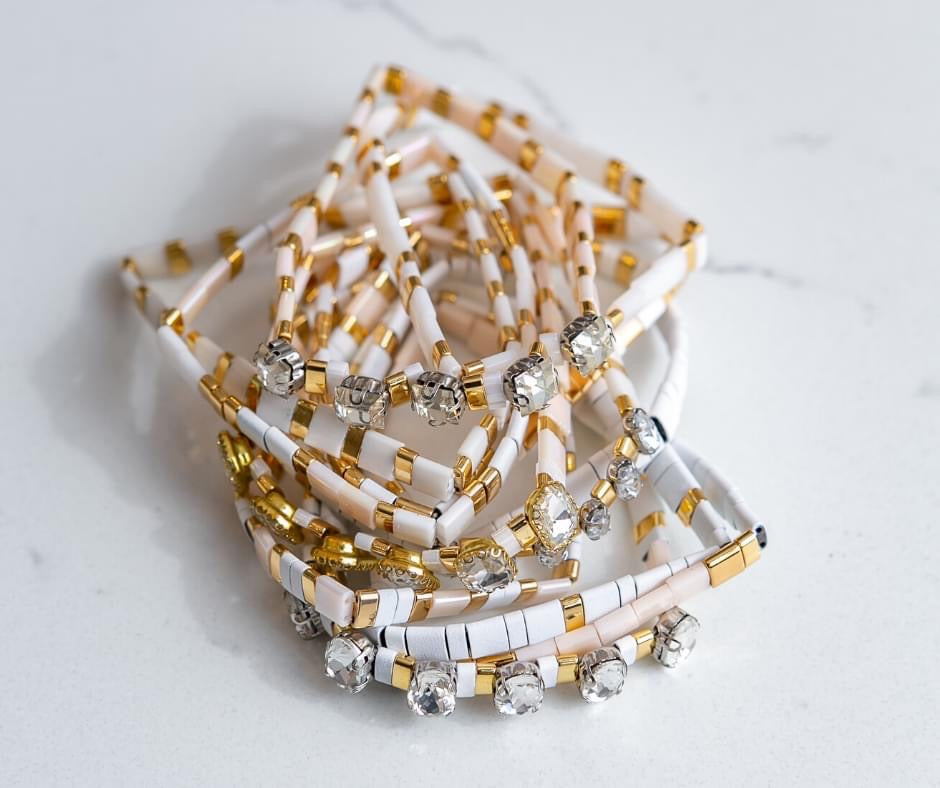 Jane Marie Stretchy White & Gold Tile Bracelet