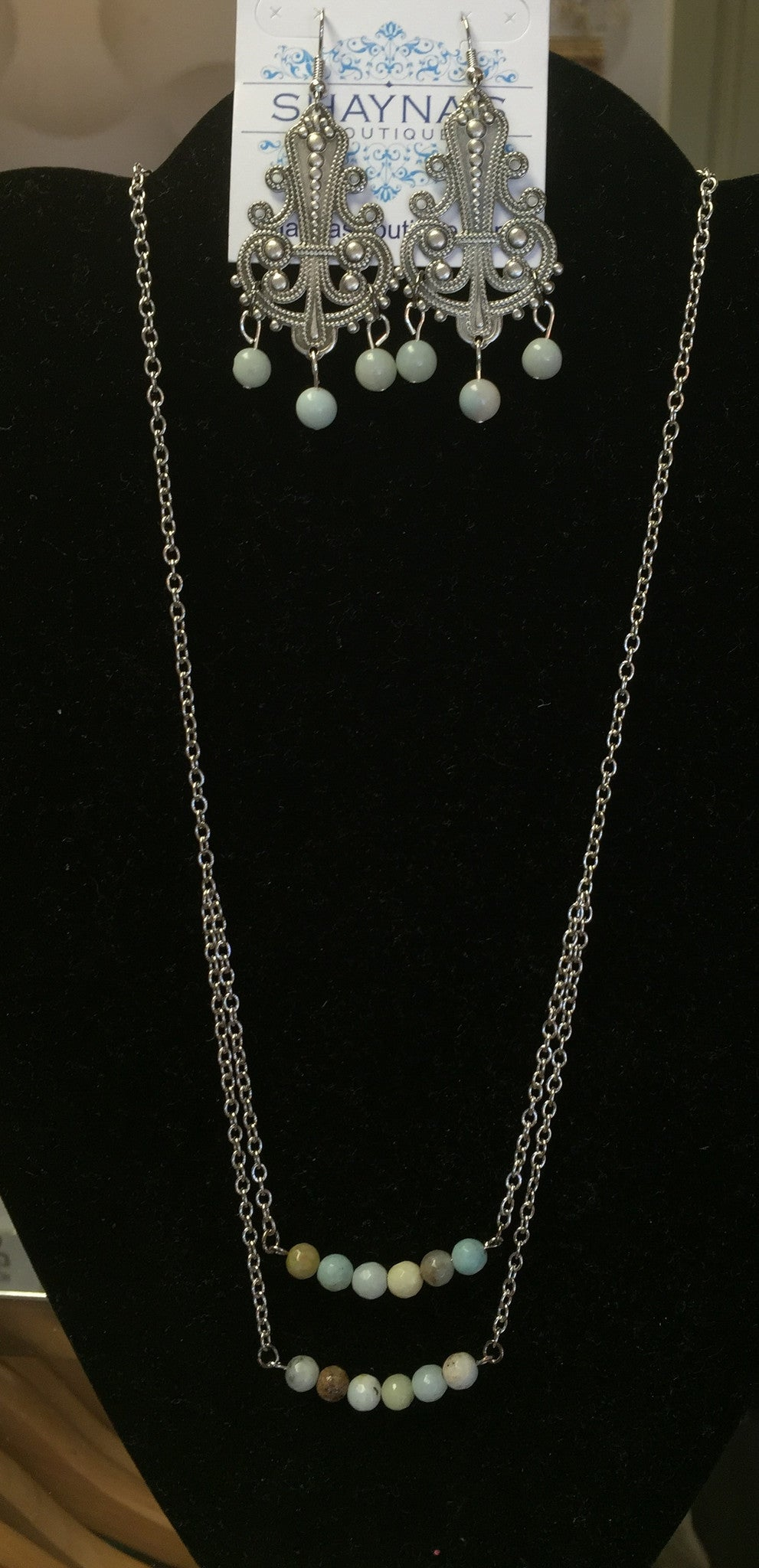 Cedar Canyon Plantation Jewelry's Layered Amazonite Silver Necklace