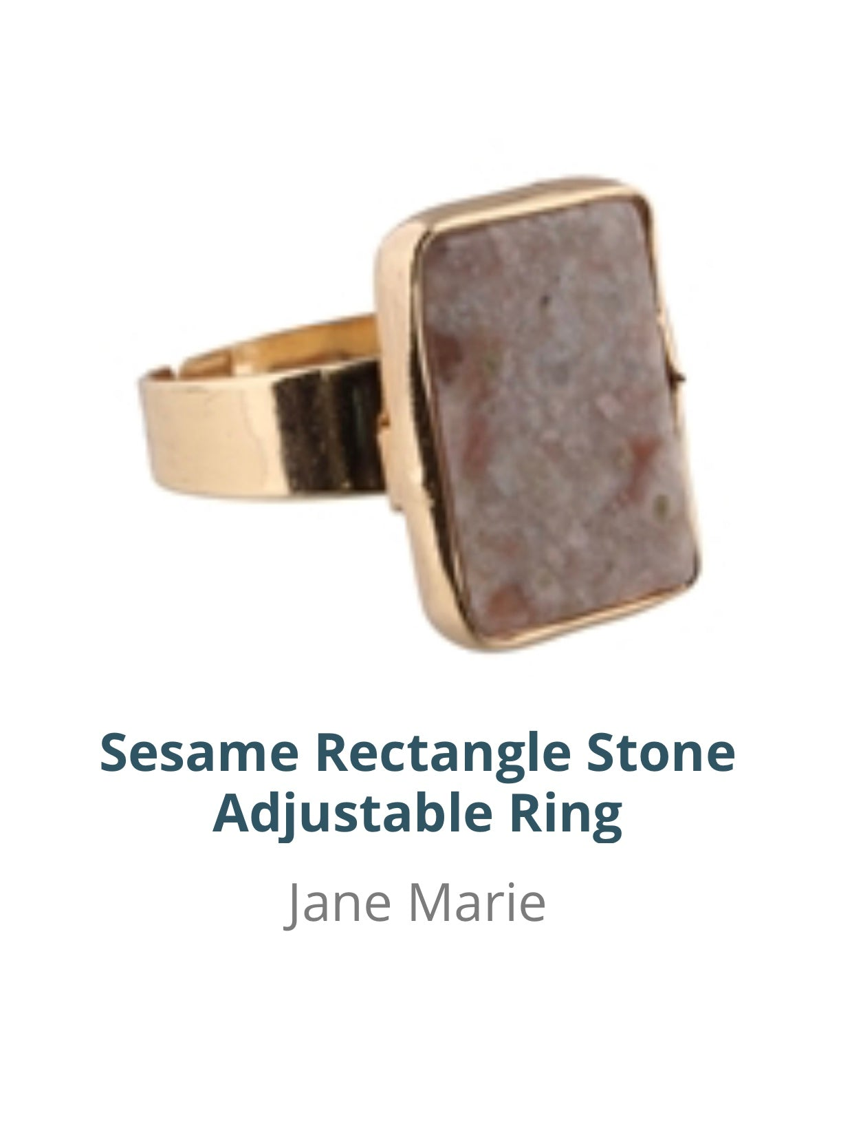 Jane Marie Sesame Rectangle Stone Adjustable Ring