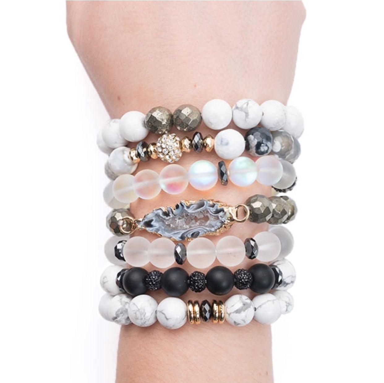 White Marbled & Gunmetal Stretchy beaded Bracelet Set of Two