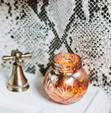 Sweet Grace 8.5oz Candle Reuseable Blush Mercury Glass Finish Vessel