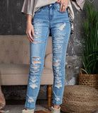 Distressed Stretch Denim Skinny Fit Button Zip Closure 4 Pockets Jeans