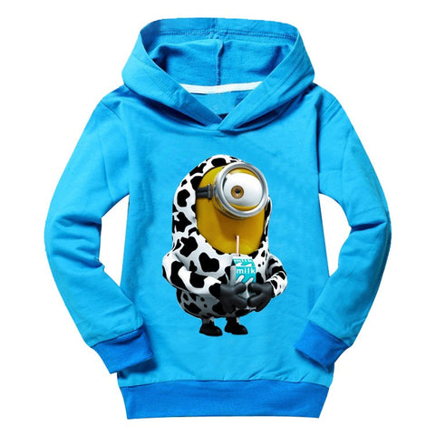 Drink Milk minions kids t shirts top tees long sleeve 2-9 Years | Tees