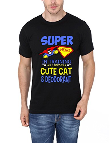 Super Hero In Training All I Need Is A Cute Cat And Deodorant Printed T-Shirt