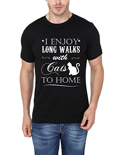I Enjoy Long Walks With Cats To Home Printed T-Shirt