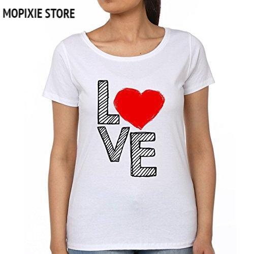 MOPIXIE 2018 New Women White Cool T shirt Short Sleeve 100% Cotton Casual tees Lover Women Tops Clothes Valentines Day gift T Shirts