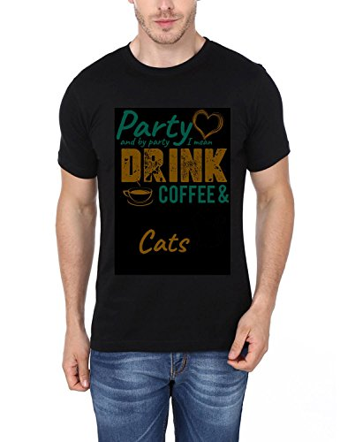 I Loved To Party And By Party I Mean Drink Coffee & Pet My Cats Printed T-Shirt
