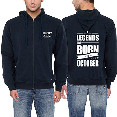 Men Fashion Hoodies Legends Are Born In October Funny Birthday Gift Hooded Sweatshirt Men's Cotton Coat