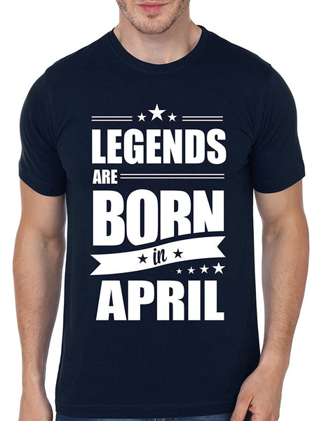 Mopixie 2017 Men Fashion T-shirt Legends Are Born In April Funny Birthday Gift T Shirt Men's Cotton O- Neck T Shirt Tops Tees