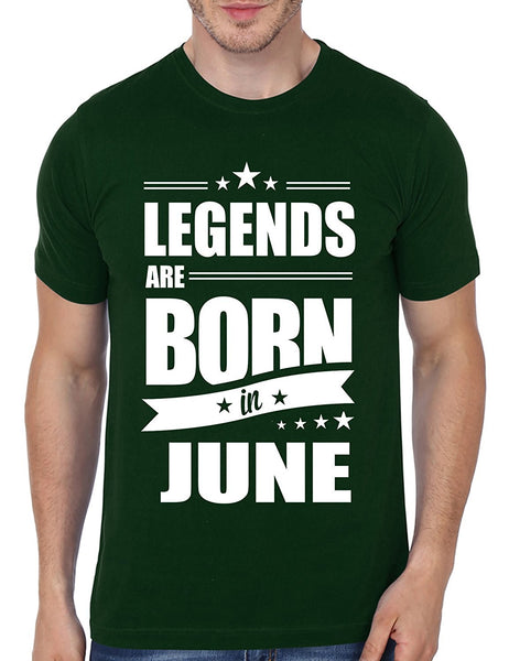Mopixie Legends Are Born In June Funny Birthday Gift Design Dad Brothers T-Shirt Novelty Men Cotton Short Sleeve Tees Tops