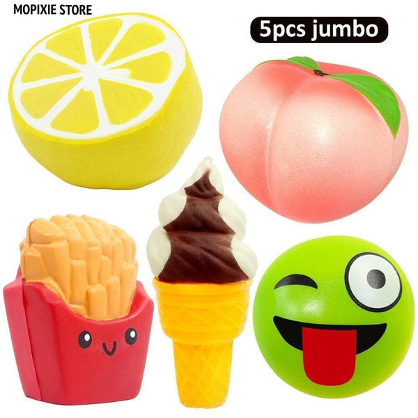 5pcs Jumbo Squishies Peach Lemon Ice Cream Cone Bun French Fries Squishies Slow Rising Squeeze Kawaii Scented Charms Hand Wrist Toys