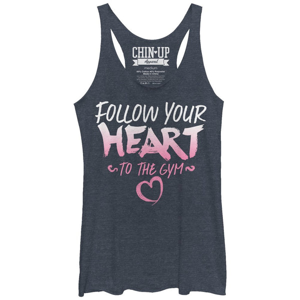 Chin Up Valentine Follow Heart To Gym Womans Racerback Tank | Tees