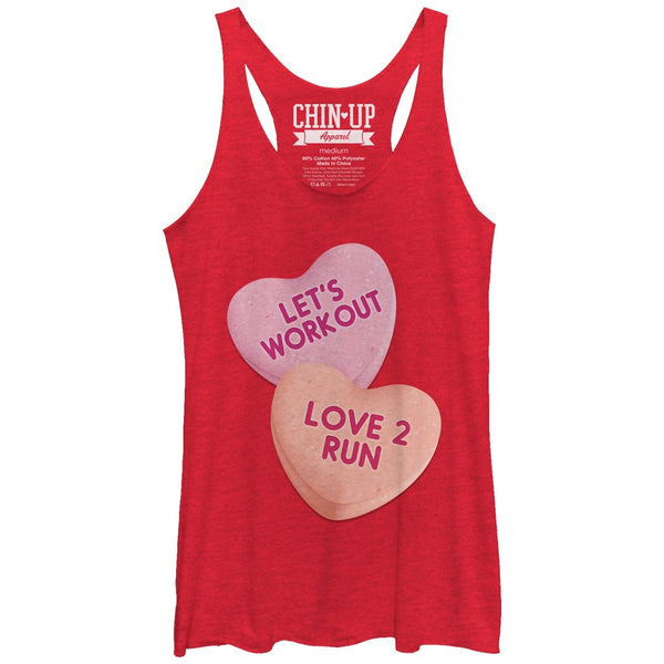Chin Up Valentine Heart Candy Workout Womens Racerback Tank | Tees