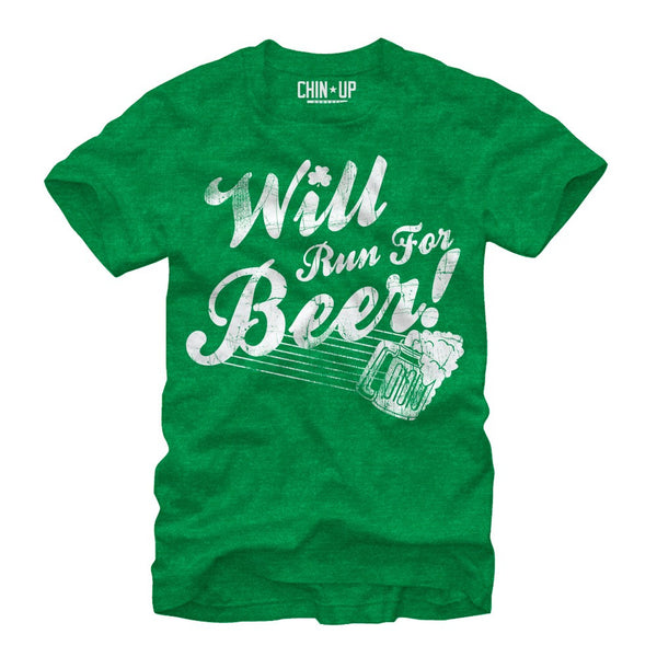 Chinup St Patricks Day Will Run For Beer Mens Heather Tee | Tees