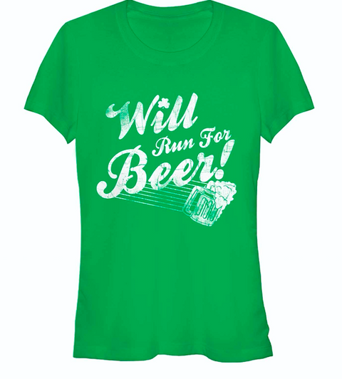 Chinup St Patricks Day Will Run For Beer Womans Heather Crew Tee | Tees