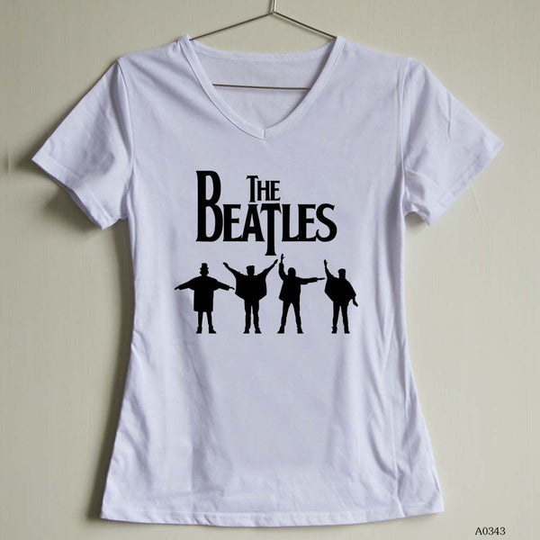 Fashion Women T Shirt the beatles Female V Neck t-shirts Short Sleeve Casual Tee | Tees