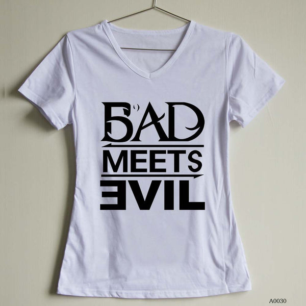 Fashion Women T Shirt bad meets evil Female V Neck t-shirts Short Sleeve Casual Tee | Tees