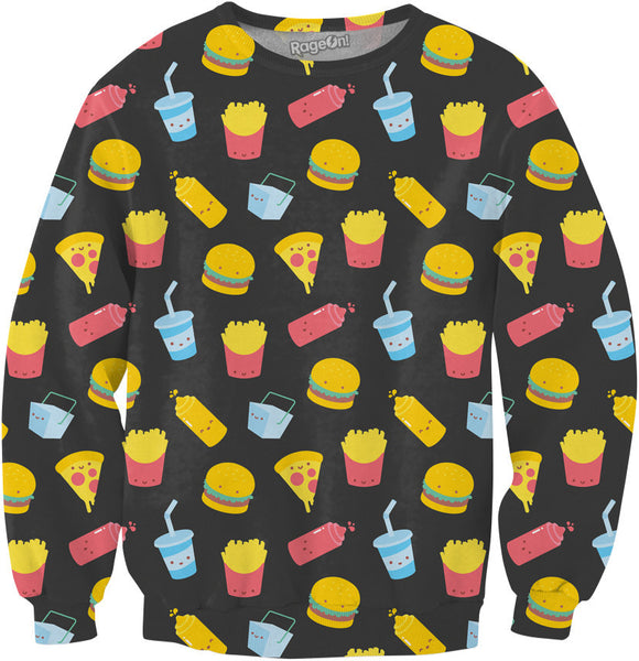 Junk Food Pattern Gray Sweatshirt