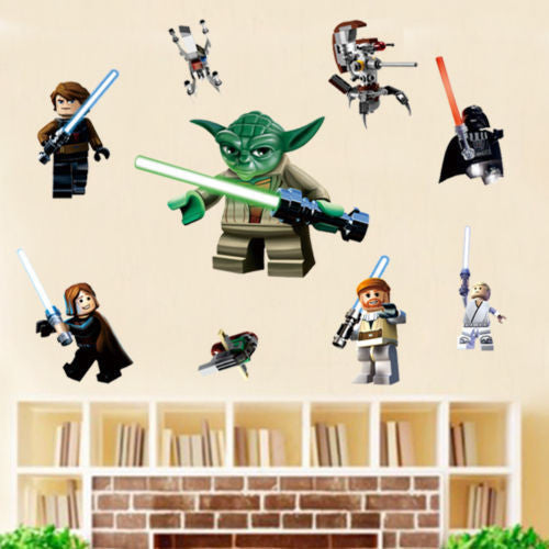 LEGO YODA Star War 9 Characters Decal Removable WALL STICKER Kids Room Decor Art | Wall Sticker