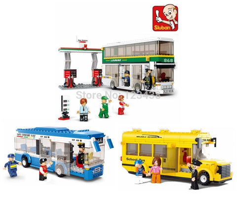 Plastic Building Blocks Sets Single & Double Deck School City Bus Plane DIY Enlighten Bricks Toys Compatible with Lego Toys | Blocks