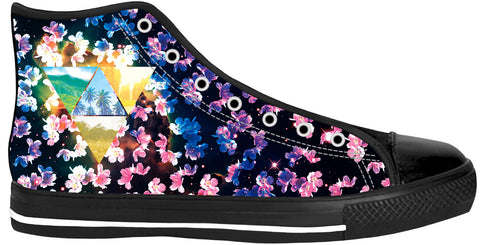 Cherry Blossom Black Sole High Tops | Shoes HighTop BlackSole
