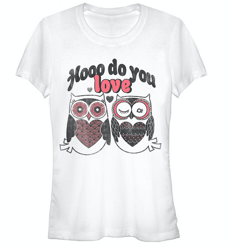 Valentine's Day Hooo Do You Love Owls Juniors Graphic T Shirt | Tees