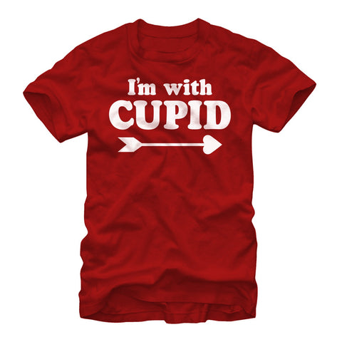 Valentine's Day I'm With Cupid Mens Graphic T Shirt | Tees
